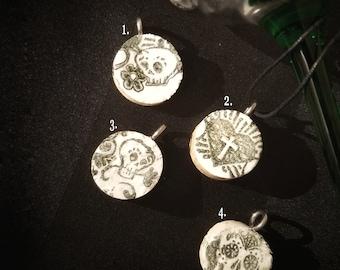 Wine Cork Charm, Wine Cork Necklace, Sugar Skull Necklace, Gothic Jewelry