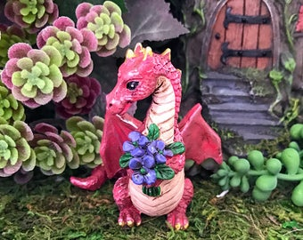 Miniature Pink Dragon with Purple Flowers