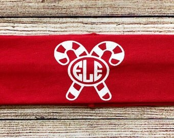Christmas Monogrammed Stretch Headbands…Personalized Candy Cane Glitter Headband with Initials...Choose Color!