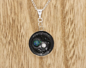 Earth & Moon In Space Resin Cabochon Pendant On Silver Plated Necklace