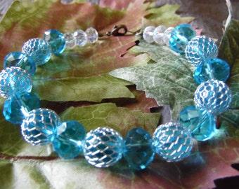 Handmade Beaded Bracelet Aqua Colored Beads 8 Inches