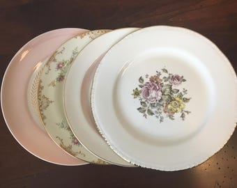 Mismatched China Salad Plates - Set of 4 / Pink & Gold Floral Dinnerware