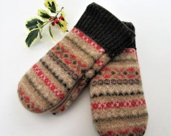 Wool Sweater Mittens, Womens Medium, Fair Isle Pattern, made Eco Friendly Recyled Felted Wool Sweaters