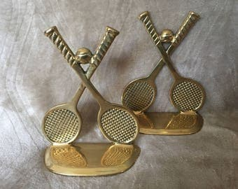 "Vintage Pair of Brass Tennis Racquet & Ball Book Ends - 6"" Tall Bookends"
