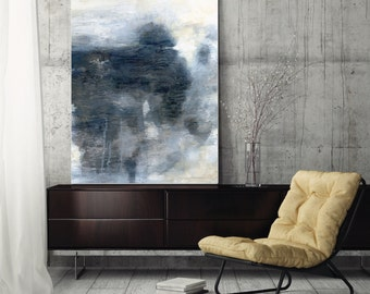 "Large abstract painting, canvas art print, abstract art, wall art canvas, giclee print blue grey gray ""A Long Perspective"""