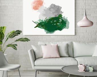 """Large abstract painting, canvas wall art print, green gray pink """"Patsy 1"""""""