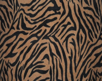 Brown Zebra Print Fleece Fabric - (1&1/2 YARD PIECE)