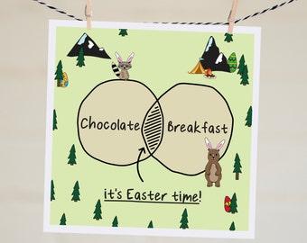 It's Easter Time Venn Diagram Card   Easter Card   Funny Easter Card   Happy Easter   Card for Easter   Humour   Chocolate Card
