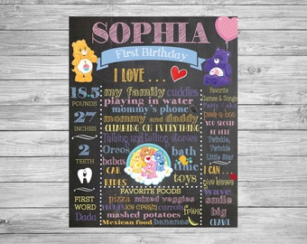 First Birthday Chalkboard Poster/1st Birthday Chalk Sign/First Birthday Chalk Poster/Care Bear Birthday Decor/Care Bear Party theme