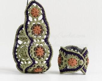 Crochet Bracelet and Headband Pattern - DIY Crochet Jewelry - Boho Chic Festival Set - Multicolored Wide Wrist Cuff - PDF Pattern