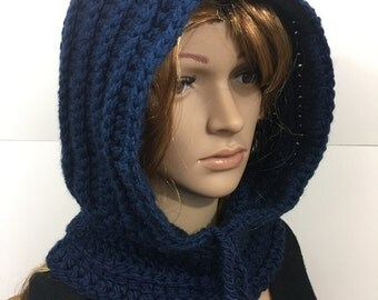 Knit Hood, Hooded Scarf, Crochet Cowl, Hood Scarf,  Crochet Hood Scarf, Knit Cowl  Color : Dark Blue
