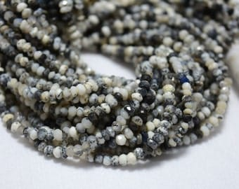 Dendrite Opal Beads, Opal Gem Stone, 3 mm Beads, Faceted Rondelle, Gemstone For Jewelry, 13.5 Inch Strand