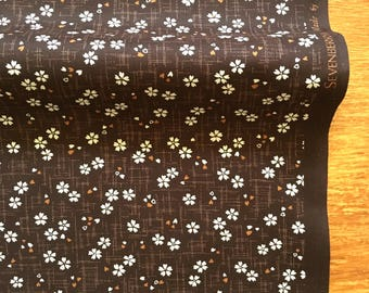 Sakura Fabric /Cherry Blossom Cotton/Kawaii/Kimono Fabric/Brown/1/2Yard