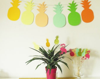 Garland of 6ananas in paper 210 gr on cotton coating-assorted colors - exotic