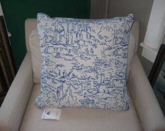Decorative Blue Toile Pillow