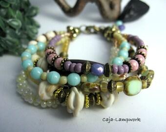 Multi row beaded bracelet, gemstone, Czech glass beads, Lampwork, mixed media bracelet