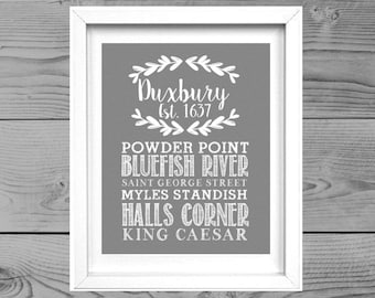 Floral Town Sign Duxbury Marshfield Town Print Town Decor Gray White Town Sign Town Landmarks Housewarming Gift Home Decor Home Wall Art