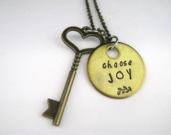Choose Joy Necklace, Hand Stamped Inspirational Jewelry, Gold Brass Pendant Motivational Quote Long Necklace, Sweet 16 Gift