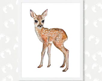 Deer Fawn Print Deer Printable Deer Watercolor Painting Woodland Nursery Art Forest Nursery Digital Download Woodland Animals Baby Deer