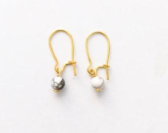 Tiny marble ball earrings, small simple earrings, dainty earrings