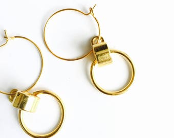 Double dangle circle earrings