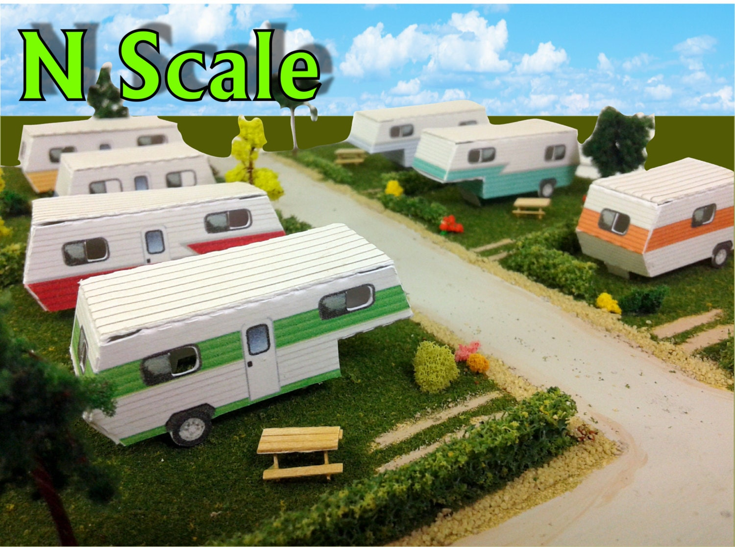 Paper Model Mobile Home Trailer Park Camper Homes Card Stock Kits