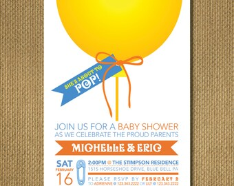 PRINTABLE |  Pop! - Baby Shower Invitation