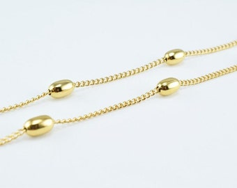New Gold Filled Chain 18K Bead Size 7x4mm Chain Size 1.5x1mm for Jewelry Making GFC54 Sold by Foot