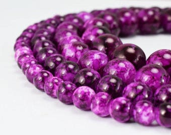 Two Tone Dark Purple Glass Beads Round 6mm/8mm/10mm/12mm Shine Round Beads For Jewelry Making Item#789222045180