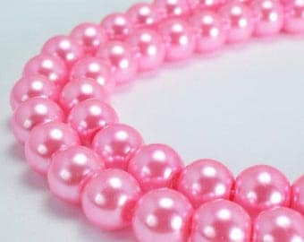 Pink Glass Pearl Round Beads Size 10mm Shine Round Ball Beads for Jewelry Making Item#789222045463