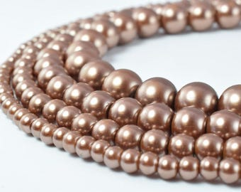 Glass Pearl Beads Round Coffee Size 4mm/6mm/8mm/10mm Shine Round Ball Beads for Jewelry Making Item#789222046286