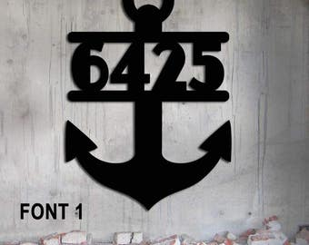 Anchor address Custom Metal Sign  Nautical House Number Steel Hand Made    17 1/2  wide x 25 high