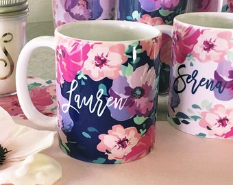 Personalized Floral Coffee Mugs- Personalized Bridesmaids Gifts - Bridal Party Gifts, Birthday Gifts