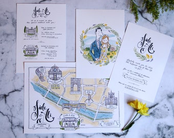 Illustrated Wedding Suite: Invitation, Programme & Map - watercolour illustration, bespoke stationery, wedding illustration, calligraphy