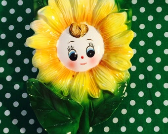 Sunset House Large Anthropomorphic Sunflower Girl Wall Pocket made in Japan circa 1950s