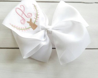 Bunny Bow - Easter Bunny Bow - Spring Bow - Easter Bow - Heirloom Bow - Monogrammed Bow - Monogrammed Easter Bow - Spring Toddler Bow