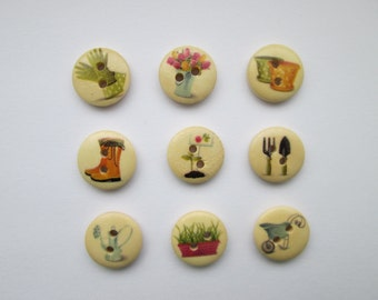 Garden 9 wooden button set Ø 15 mm