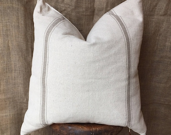 Grain Sack Pillow Cover, Farmhouse Pillow Cover, French Pillow Cover, Shabby Chic Decor, Tan Stripe Pillow, Farmhouse Decor, Linen Pillow