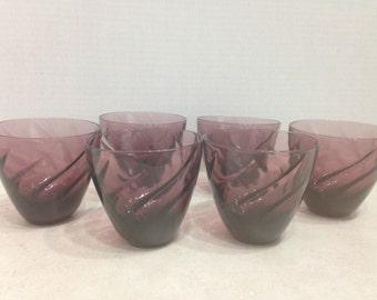 Amethyst Swirl Barware, Set of Six Dark Purple Low Ball Glasses