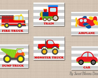 Transportation Wall Art,Transportation Names Nursery Wall Art,Transportation Playroom Cars Planes Train Fire Truck Wall Art-  UNFRAMED C301