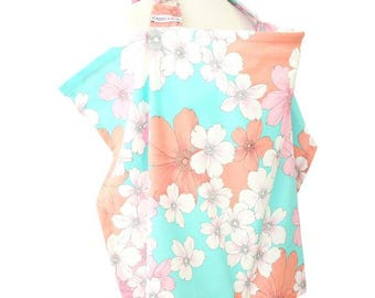 15% OFF SALE - Lola's Floral | Coral and Aqua Nursing Cover