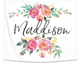 Watercolor Floral Personalized Wall Tapestry | Nursery Wall Art | Watercolor Floral Wall Art