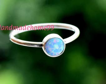 Blue  Opal Ring - Sterling Silver - Opal Gemstone Stackable Rings - Blue Opal  Rings for women -Dainty Ring,Girls Ring, Gift Ring,