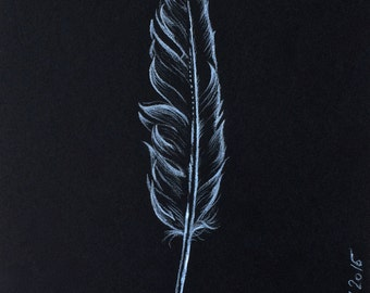 Bird spring, original drawing, white chalk, graphics, feather, drawing, wall art, home décor, art, artwork