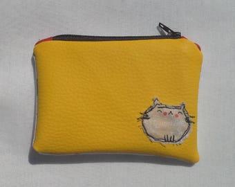 Coin Purse, Yellow Faux Leather with Cat Applique
