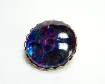 Brooch gear in blue glass steampunk gears pin with large glass cabochon jewelry unique gear gears blue purple