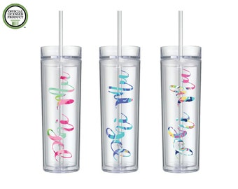 Phi Mu Glass Acrylic Water Bottle-Lily Inspired Patterned- 16oz Double Wall Acrylic Bottles