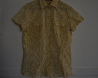 Floral Print Shirt button down short sleeve womens size 12 Cotton vintage preppy