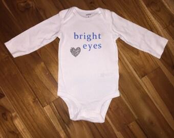 Bright Eyes Glitter Heart Blue Silver Baby Bodysuit