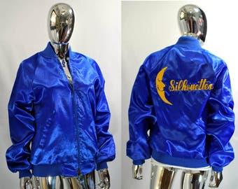 Baseball Bomber Style Jacket. Shiny Blue & Yellow Colors. Shiny Blue Dancer, Dancing Light Coat Varsity 80s Vintage Silhouettes. Medium